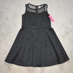 Xhilaration Black Floral Skater Dress Sleeveless L